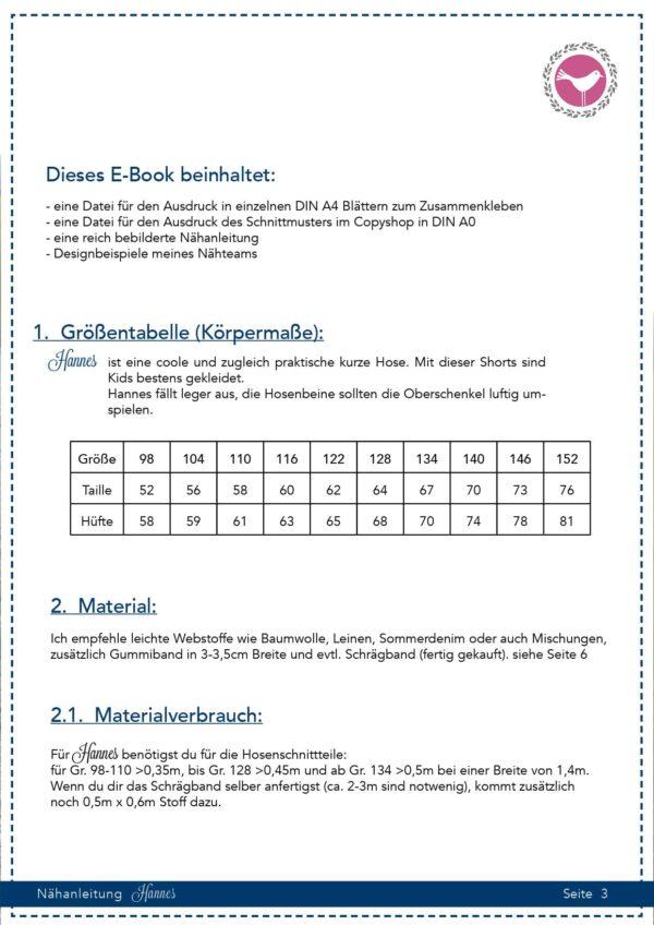 Shorts Hannes in Gr. 98-152 - Schnittmuster und Nähanleitung