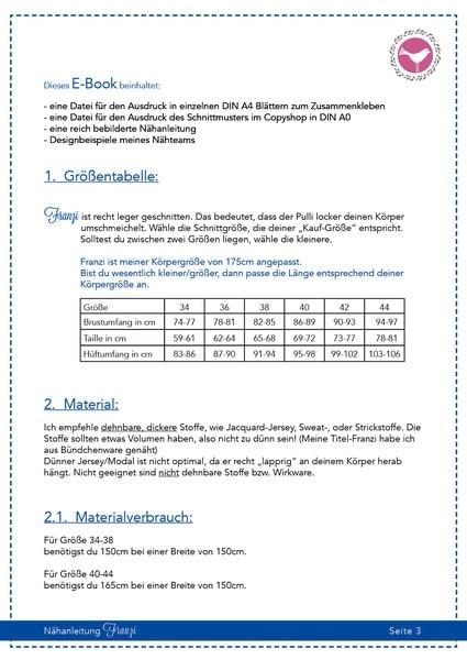 Pulli Franzi in Gr. 34-50 - Schnittmuster und Nähanleitung