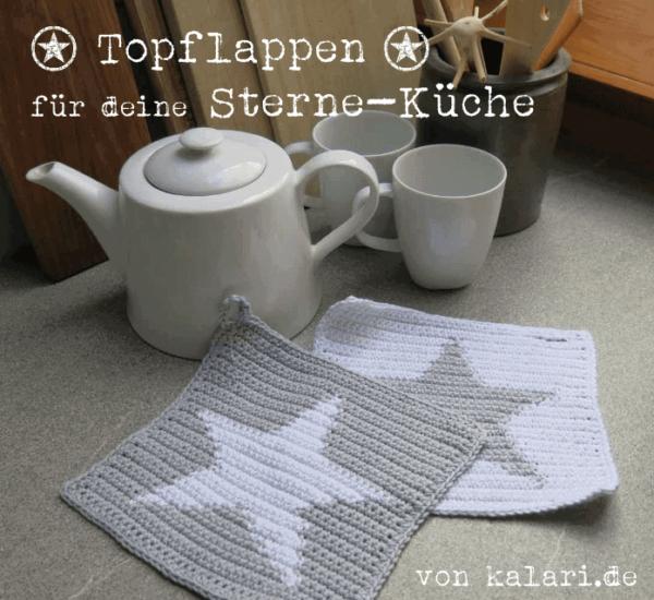 Topflappen mit Stern - Häkelanleitung , kostenlos