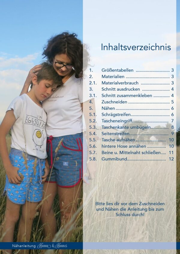 Shorts Hanna & Hannes Gr.34-44 + 98-152 - Schnittmuster + Nähanleitung