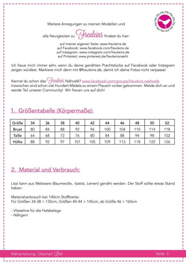 Bluse Lissi - Schnittmuster und Nähanleitung