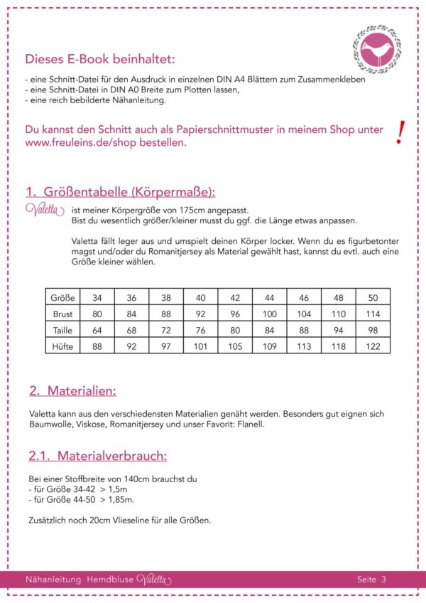 Hemdbluse Valetta in Gr. 34-50 - Schnittmuster und Nähanleitung