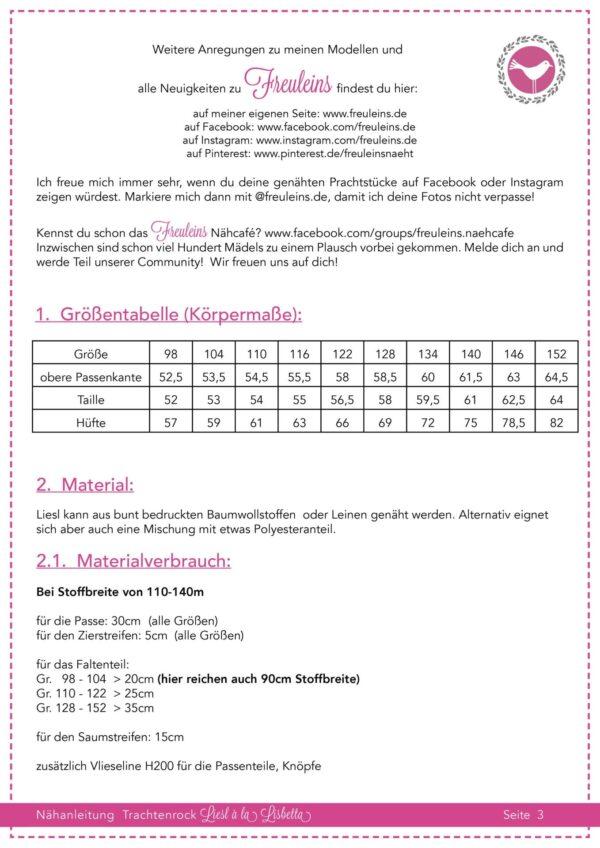 Trachtenrock Liesl in Gr. 98-152 - Schnittmuster und Nähanleitung