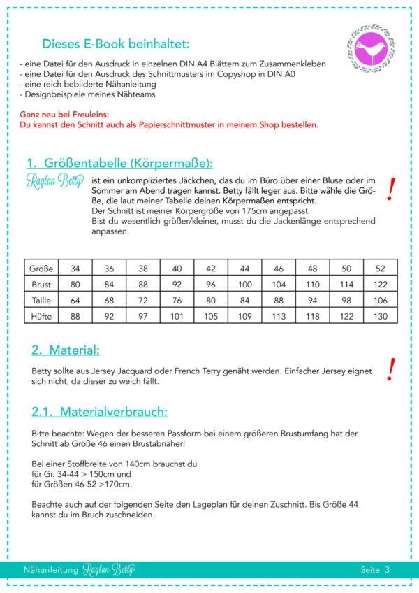Jäckchen Raglan Betty Gr. 34-52 Papierschnitt