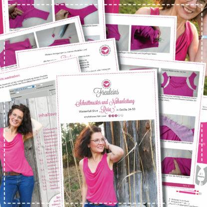 Wasserfall-Shirt Rosa in Gr. 34-50