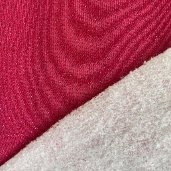 Kuschelsweat Stoff lurex cassis