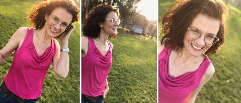 Wasserfall-Shirt Rosa